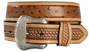 basket weave leather ostrich print belt cognac hi res tote basket weave leather