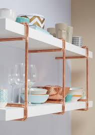 Like the open shelving with exposed copper pipes