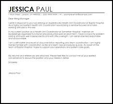 Health Unit Coordinator Job Description Resume Health Unit Coordinator Cover Letter Sample Cover Letter Templates