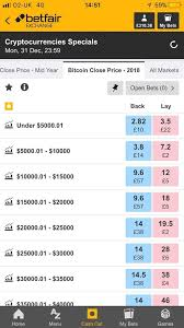 So it doesn't matter what the currency that is being used to place a wager is, the probability of each bet isn't impacted. Betfair Offering Odds On Price Of Bitcoin And Other Bitcoin Specials Cryptocurrency