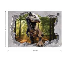dinosaur 3d jumping out of hole in wall