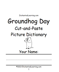 groundhog day crafts worksheets and printable books  groundhog day cut and paste picture dictionary