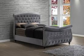 Meridian Furniture Hudson Grey Velvet Crystal Tufted Eastern King Size Bed  Reviews Hudson Sleigh