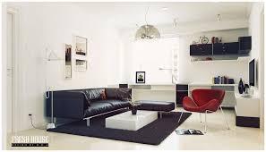 black white living room red