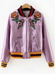 embroidered metal colour pu leather jacket pink m
