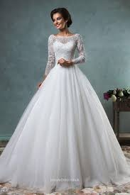 Elegant Ball Gown Boat Neckline Lace Tulle Backless Wedding Dress Ball Gown Wedding Dresses With Sleeves Uk