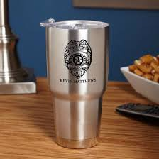personalized insulated travel mug gift for police officer