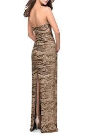 Details About La Femme Sequin Strapless Column Gown Dress Sz 0