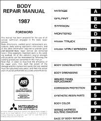 1987 mitsubishi body manual original covers all 1989 mitsubishi mirage galant starion montero pickup and van wagon models this book measures 8 5 x 11 and is 1 25 thick