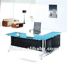 office table with glass top. Black Glass Top Desk Blue Modern Office Furniture Table With . O