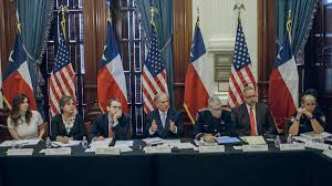 texas gov greg abbott center during his first school safety and security meeting on may 22 2018 photo texas governor s office via flickr