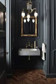 grey washroom black powder room