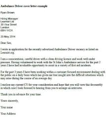 Driver Cover Letters Ambulance Driver Cover Letter Example Learnist Org