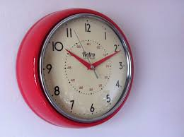 clocks for kitchen round kitchen clock retro vintage shabby red black cream blue chrome
