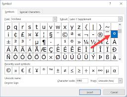 insert degree symbol in excel shortcut