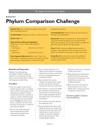 Animal Phyla Comparison Chart Activity Guide Covers