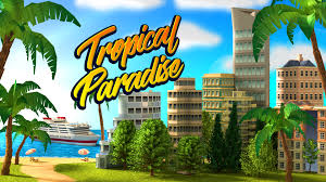 tropical paradise town island city building sim