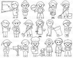 Community Helpers Clip Art Black and White | Community ...