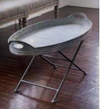 oval galvanized metal tray coffee table
