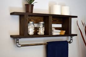 Wooden Bathroom Shelf With Towel Bar Wooden Shelf With Towel Bars - Modern bathroom shelving