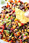 black bean and corn dip with cilantro and lime