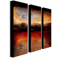 trademark fine art red skies at night by michelle calkins 3 panel wall art set on 3 panel wall art canvas with trademark fine art red skies at night by michelle calkins 3 panel