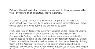 What Is An Internal Memo Internal Memo From Ubers Chief Travis Kalanick The New York Times