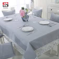 rectangle table cloth double layer organza lace hem solid cotton line blending table covers gray tablecloth