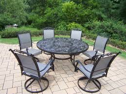 trendy oakland living aluminum 7 pc patio dining set w 60 interchangeable round table amp