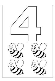 Con Animali Numero Quattro Da Colorare Per Bambini Disegni Da