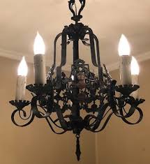 antique spanish chandelier armor knight gothic cast wrought iron 5 light