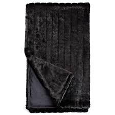 fabulous furs black mink faux fur throw blanket  throws  pillow