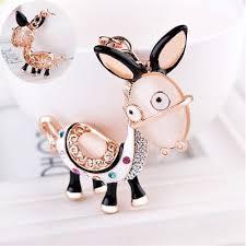 <b>Crystal</b> Donkey Key Chain <b>Rhinestone Cartoon Animal</b> Shape Bag ...