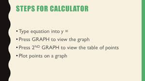 3 steps for calculator type equation into y press graph to view the graph press 2 nd graph to view the table of points plot points on a graph