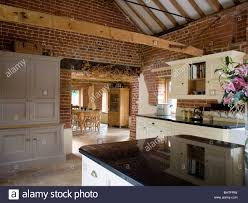 Barn Kitchen Kitchen In Barn Conversion Exposed Stock Photos Kitchen In Barn