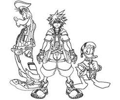 Small Picture The Journey Of Sora And Goofy And Donald Duck Coloring Page Art