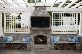 outdoor fireplace kit modified 36 contractor with tv bluestone benches
