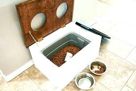 wooden dog bowl stand pet food station with storage addicted 2 raised feeders w