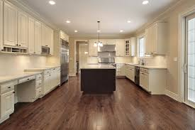 Models Kitchen Design White Cabinets Wood Floor Another Black Island Set Off With A Lighter Intended Concept