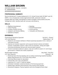 Us Army Reserve Psychological Operations Specialist Resume Sample