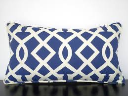 Blue outdoor pillow cover 21x12 blue cream outdoor cushion