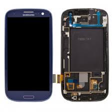 samsung galaxy s3 blue. samsung original galaxy s3 lcd + touch screen digitizer with frame (t999, i747) - blue 0
