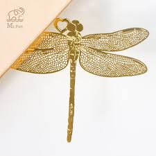 <b>Retro Chinese Style Golden</b> Hollow Dragonfly Metal Bookmark ...