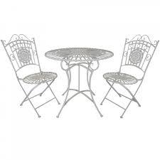white metal table chair
