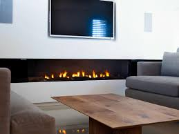 stunning rectangular long gas fireplace design set on under the tv wall mounted as well wooden