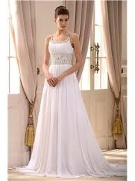 gorgeous empire spaghetti straps sleeveless beaded court train wedding dress