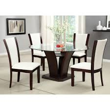 furniture of america lavelle 5 piece glass top dining set dark cherry glass table dining sets