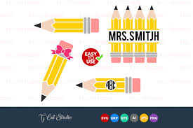 This post for free teacher svg files contains affiliate links. Pencil Svg Pencil Monogram Svg Teacher Svg Files For Silhouette Cameo Or Cricut Commercial Personal Use 104548 Cut Files Design Bundles