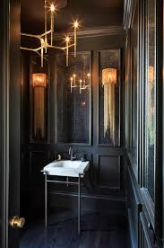 black powder room with wainscoting view full size