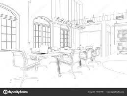 インテリア デザイン事務所部屋のカスタム デスクから図面 ストック